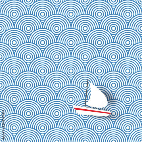 tlo-biala-lodka-z-czerwonym-paskiem-na-tle-abstrakcyjnych-fal