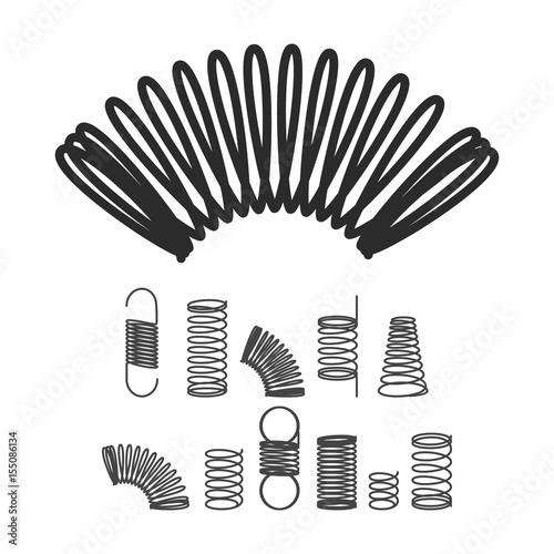 Fotografie, Obraz  Metal Spiral Flexible Wire Elastic Spring