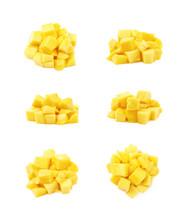 Pile Of Mango Fruit Cubes Isolated