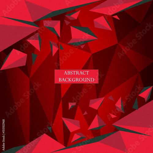 Red background with polygonal shapes. Vector abstract geometric triangle background #155102968