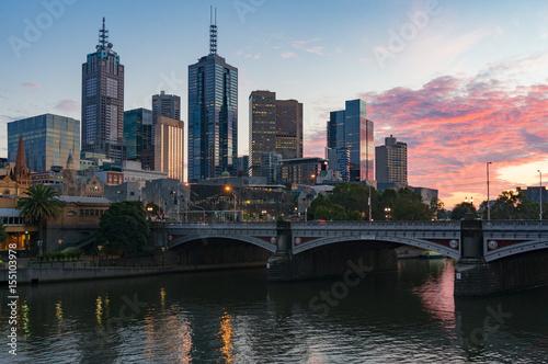 Canvas Prints Cappuccino Melbourne cityscape at sunrise