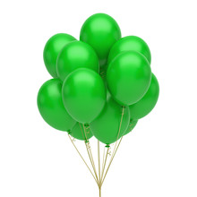 Green Balloons. Green Latex Balloons Isolated On White Background.