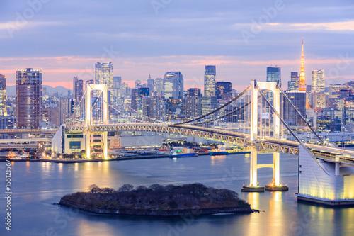 Fototapety, obrazy: Tokyo skyline with Tokyo tower and rainbow bridge