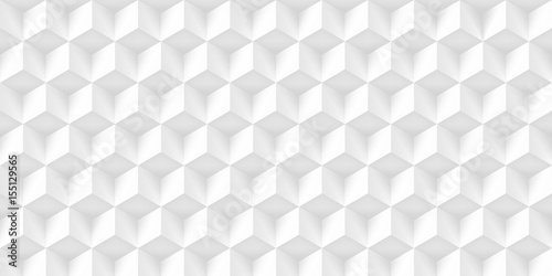 Volume realistic texture, gray cubes, 3d geometric pattern, design vector light background - 155129565