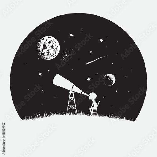 Fototapeta Little boy looks to through a telescope to space obraz