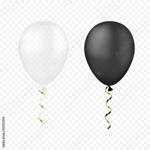 Vector white and black balloons on a transparent background. 3d realistic happy holidays flying air helium balloon.