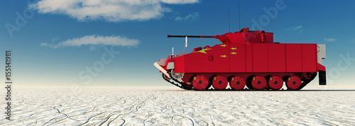 3d illustration of tank painted Fotobehang