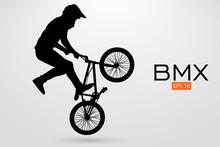 Silhouette Of A BMX Rider. Vec...