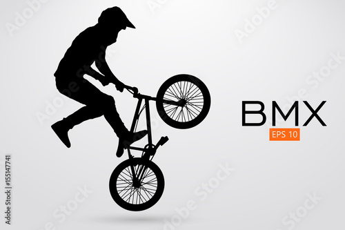 Silhouette of a BMX rider. Vector illustration Wallpaper Mural