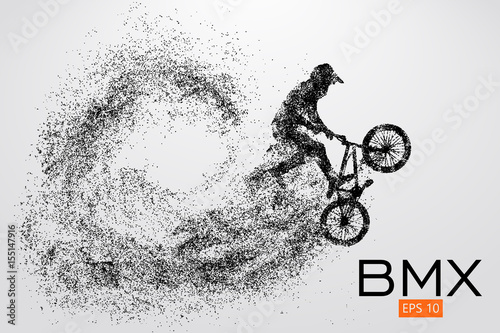 Leinwand Poster Silhouette of a BMX rider. Vector illustration