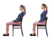 canvas print picture - Rehabilitation concept. Collage of woman with poor and good posture sitting on chair against white background