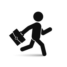Businessman Running With Briefcase Icon, Vector Black Man Silhouette.