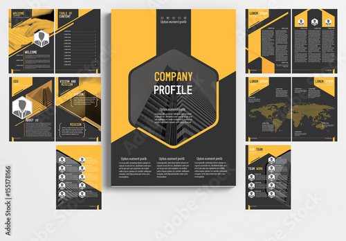 Multi Page Brochure Layout With Gray And Orange Accents 1 Buy This
