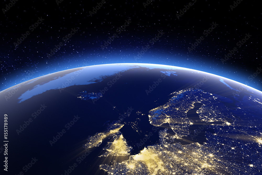 Fototapety, obrazy: North Europe. Elements of this image furnished by NASA