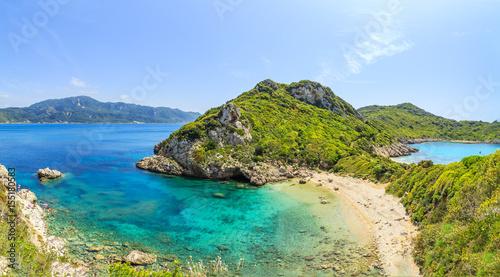 Poster Cote A panorama of Porto Timoni beach in Corfu, Greece