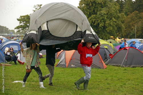 Festival Goers Arrive With A Pre Erected Tent At The Electric Picnic