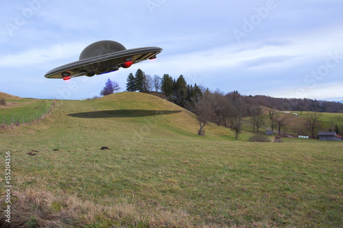 Staande foto UFO An unidentified flying object (ufo 3d rendering)