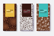 Vector Set Of Chocolate Bar Package Designs With Modern Brown Floral Patterns. Pastel Rectangle Frames. Editable Packaging Template Collection.