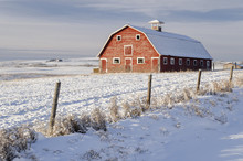 Old Red Barn In A Snow-covered Winter Wonderland Scene