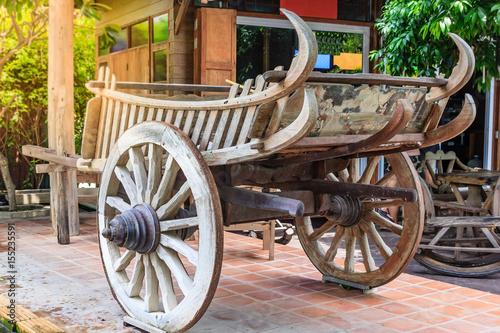 Fotobehang Indiërs Wooden cart Thai Style in Thailand