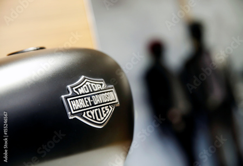 Fotografia, Obraz A Harley-Davidson fuel tank is displayed in their head office in Singapore