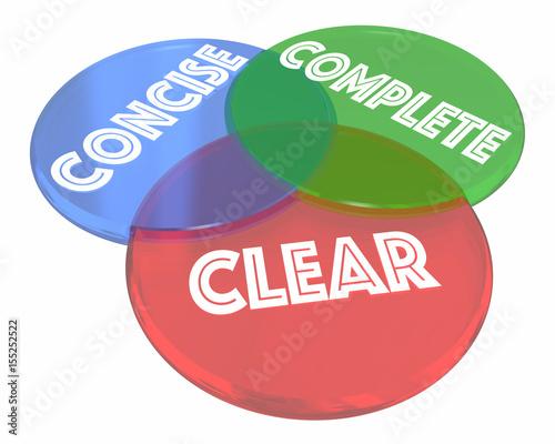 Photo  Clear Concise Complete Communication Venn Diagram 3d Illustration