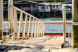 Boat mooring walkway, Harbor or pontoon Passage for transportation boat, Ferry landing riverside in Bangkok Thailand