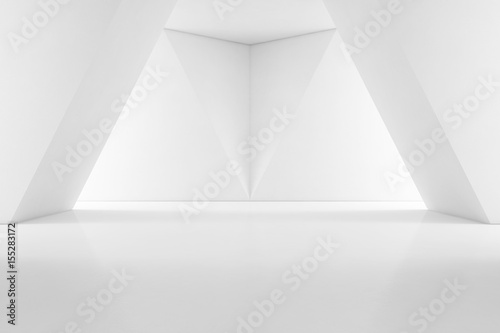 Modern interior design of showroom with empty floor and white wall background - 3d rendering