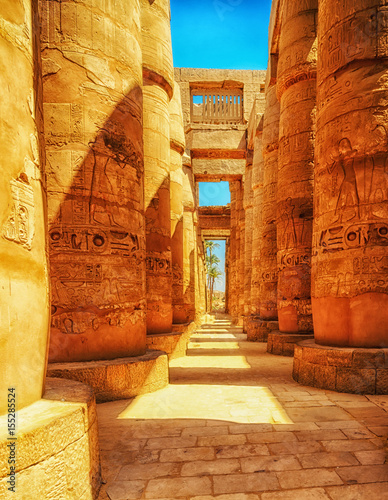 Ingelijste posters Egypte Great Hypostyle Hall at the Temples of Luxor (ancient Thebes). Columns of Luxor temple in Luxor, Egypt
