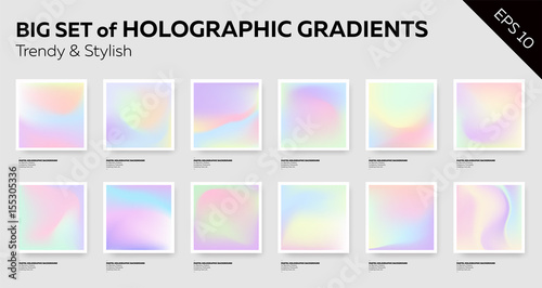 Photo  Big Set of Trendy Pastel Holographic Backgrounds.