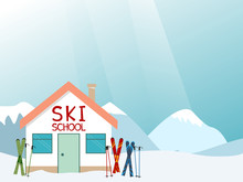 Ski School Advertisement Layout