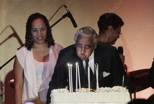 US Democratic Representative Charles Rangel Blows Out Birthday Candles In Front Of His Daughter Alicia