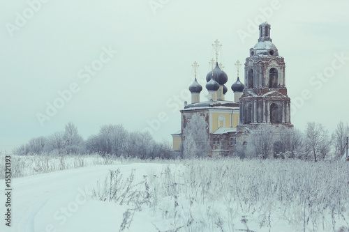 Old Orthodox Church in the winter landscape