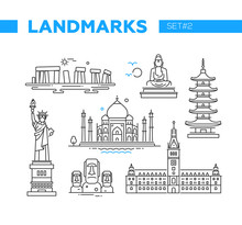 World Famous Landmarks - Line Design Icons Set