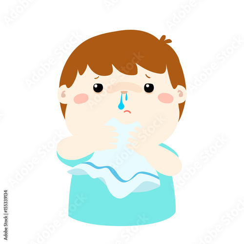 Sick boy runny nose vector. Canvas-taulu