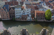 canvas print picture - Aerial view along the Leie river in historic part of Ghent,  Belgium
