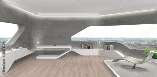 Projekt wnętrz futurystycznego salonu z odkrytym betonem