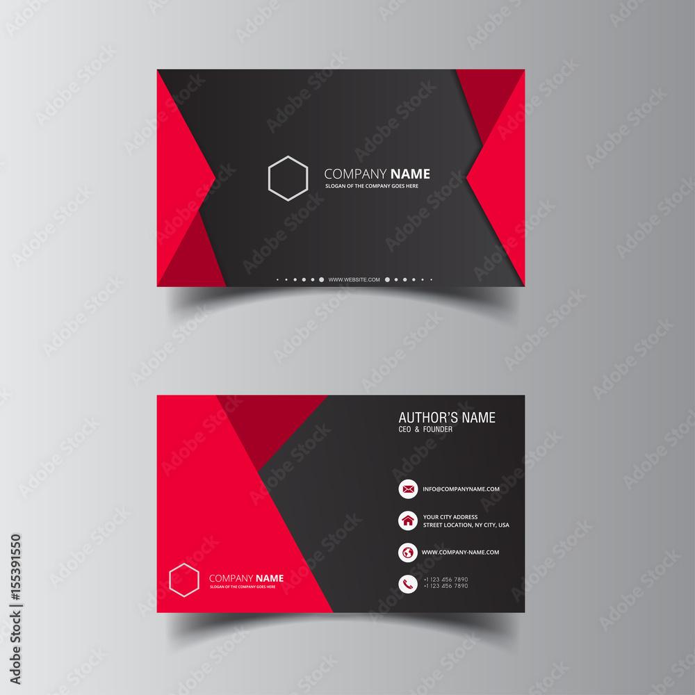 Fototapeta Vector design formal red modern business card
