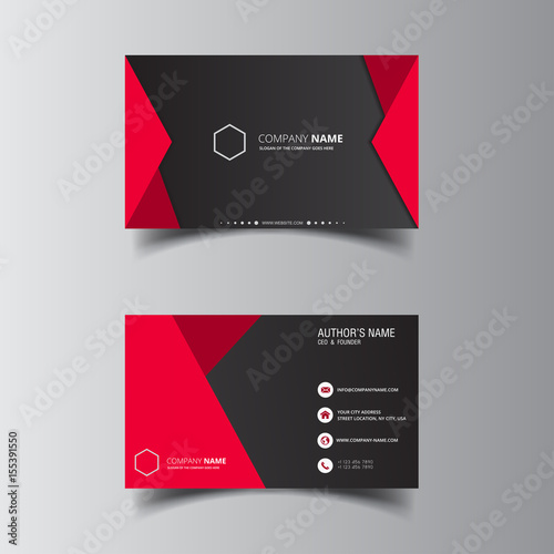 Valokuva  Vector design formal red modern business card