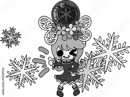Printed kitchen splashbacks The cute illustration of winter and girls -A mysterious snow crown-