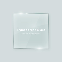 Fototapeta Transparent vector glass square shape. Geometric crystal clear glass abstract design element with transparency.