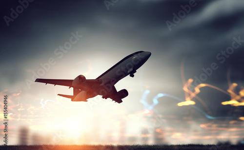 Photo  Airliner in night sky