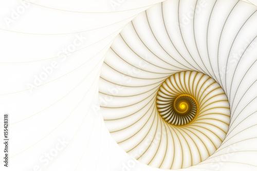 Plakat Abstrakcjonistyczna złota spirala na białym tle