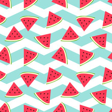 Watermelon Seamless Background With Nice Turquoise Zig Zag Background. Fresh Melon Pattern.