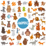 Fototapeta Fototapety na ścianę do pokoju dziecięcego - cartoon animal characters huge set