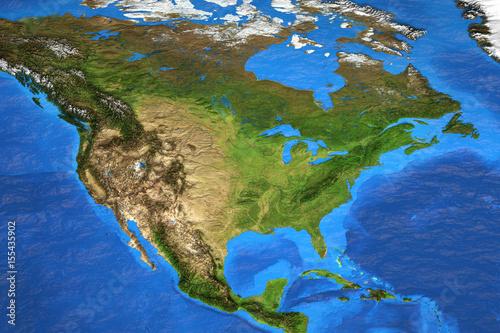 High resolution world map focused on North America – kaufen Sie ...