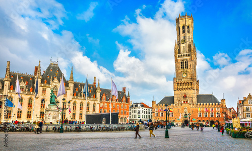 Wall Murals Bridges Market Square (Markt) Provincial government in Bruges, Belgium.