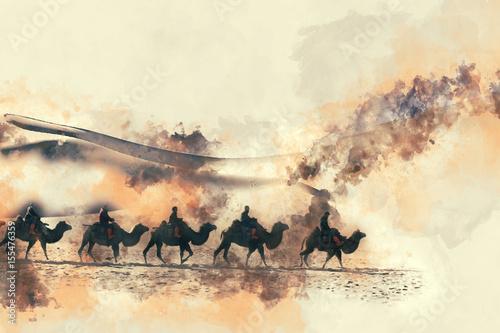 wielblady-na-pustyni-akwarela-malarstwo-na-bialym-tle