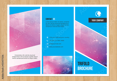 trifold brochure layout with blue elements 1  buy this