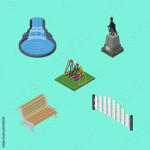 In de dag Groene koraal Isometric Urban Set Of Garden Decor, Seesaw, Sculpture And Other Vector Objects. Also Includes Fountain, Seat, Monument Elements.